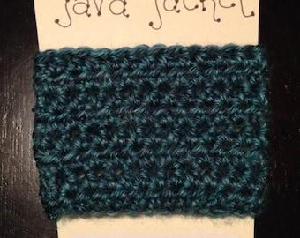 """Crochet Java Jacket, Cup Cozy - Denim Blue (""""Glacier Bay"""")"""