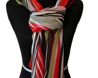 Multi color funky Bayadere Stripes chiffon scarf