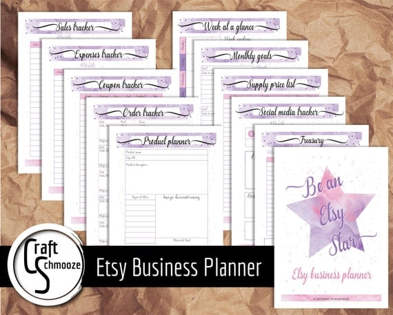 31 printable planner pages, instant download, Business planner in pink and purple,  business printable, business organiser, small business