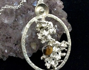 Sterling Silver Pendant with Tigar Eye hslf drilled bead; bead; tiger eye; golden; silvet; jewellery; casting; salt casting; ooak; coral;
