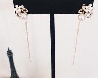 Pearl,flower,rhinestone studs earrings with threaded backs