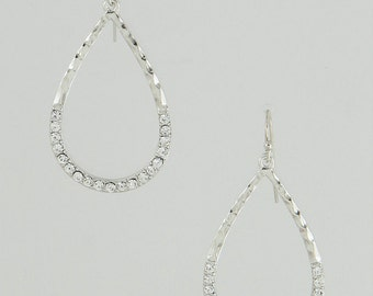 Open Teardrop Pave Earrings