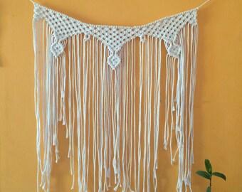 Boho curtain macrame. I macrame ready to enviar.Tapiz hippie. White cotton curtain. Cortina macramé.Cabecera modern macrame bed
