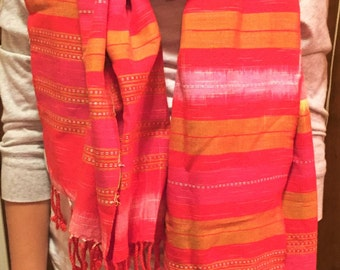 handmade pink and gold scarf