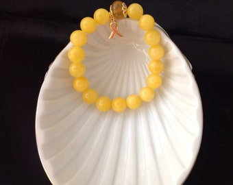 Bright Yellow Jade and Golden Agate Childhood Cancer Awareness Bracelet