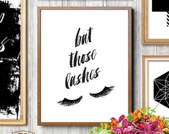 Chic bedroom wall decor, gallery wall prints, eyelashes print, eyelashes, lashes, makeup, make-up, glamour print, chic print, teen girl room