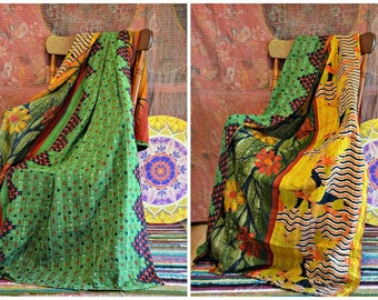 Vintage Kantha Throw Earthy Primitive Rugged Bohemian