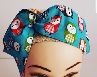 Green Cartoon Owl Pin Up Hair Tie