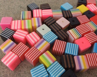 20 pieces assorted cube striped resin beads 10mm rainbow