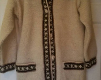 Hand knitted wool jacket/cardigan, size 16 to 18, cream, Handmade in Ireland