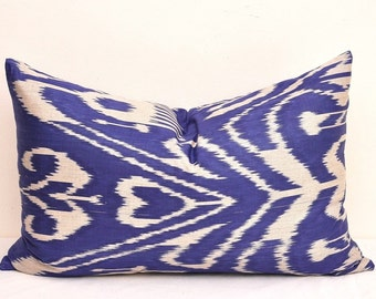 blue lumbar pillow blue decorative pillow ikat lumbar pillow ikat pillow blue