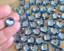 200 Blue Gems, 12mm Acrylic Faceted Flatback Gems, Scrapbook Embellishment, Craft Supplies