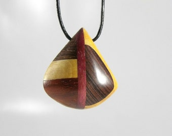 Necklace pendant reversible multi species-collar for woman-wood precious-made hand-Piece unique-jewelry Taamak