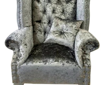 Pewter Crushed Button Back Queen Anne Wing Chair
