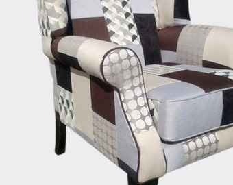 Patchwork Queen Anne Wing Chair