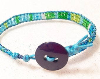 Blue and Green Seed Bead Wrap Bracelet