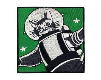 Space Cat Patch Iron On Patch Embroidered Applique Astronaut Cat Alien Cute Cat Patch