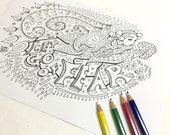 Let Go of Fear Coloring Page ( Adult coloring page Art Therapy Adult Colouring Adult coloring book Printable  download Inspirational quote )