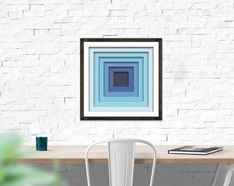 Geometric Print, Instant Download, Home Office Décor, Printable Wall Art, Concentric Squares, Blue Square Wall Art, Modern Design, Modern
