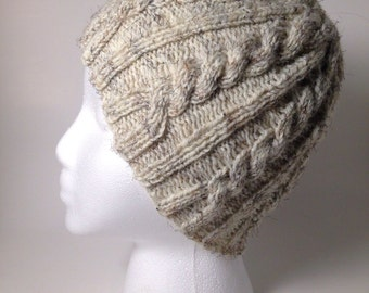 Oatmeal Cable Knit Hat