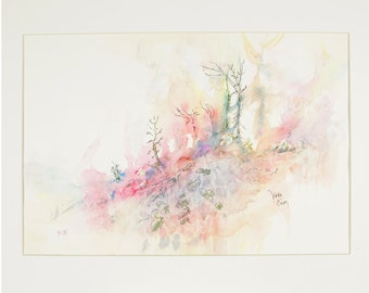 ORIGINAL painting, watercolor, signed, forest, forest fire, nature, botanical, woods, gift art, 18x24/mounted 22x28