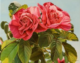 Pink Roses, flower, realism, original oil painting, 12x15 in.