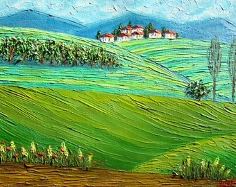 SALE! Tuscany Fields Original Oil Painting Landscape Impasto oil Textured palette knife painting Contemporary Art green spring summer