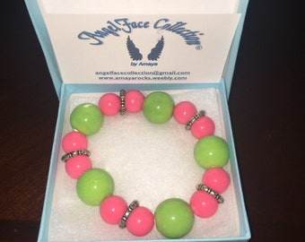 Pink and Green Beaded Bracelet