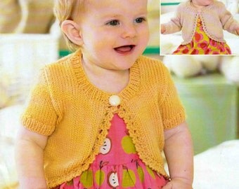 """PDF Knitting Pattern for a Baby/ Girls Bolero Top - To Fit 16"""" to 26"""" - Instant Download"""