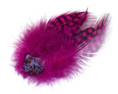 Hair clip Fascinator feather pink