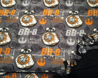 READY TO Ship  The Force Awakens BB-8 Knotted Fleece Throw With Antipill Backing