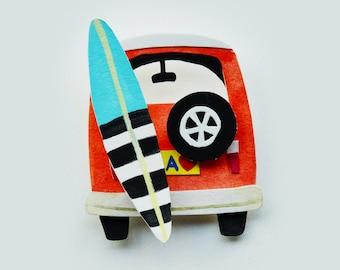 VW Bus Surf Board California Paper Art Print, VW Bus Print, VW Van art, surf board art, surf decor, road trip art, vintage car illustration