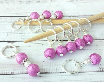 bright Pink Stitch Markers - sparkly beaded stitch markers - girly crochet markers