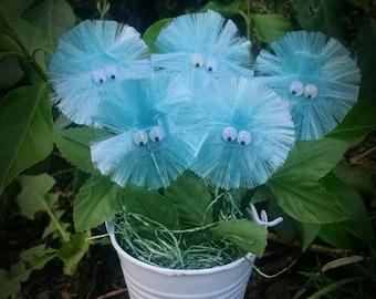 Mini Plant, Mini Fuzzy Flower in White Bucket, Miniature Garden, Floral Arrangement, Mini Felt Flowers, Silk Arrangements - Robin Egg Blue