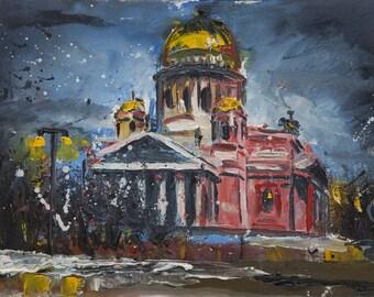 Original Oil Painting Russian Landscape Souvenir  Oil Canvas Paper