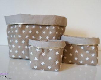 Ensemble de paniers en tissu coton réversibles 3 tailles