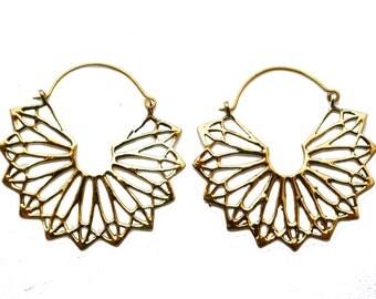 Butterfly Earrings- Gypsy Earrings- Brass Hoops- Festival Hoops