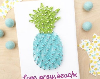 MADE TO ORDER - Pineapple string art - You pick colors & saying...