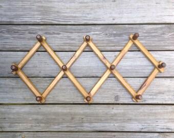 Vintage Accordion Peg Rack For Hanging
