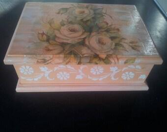 Handmade decoupage jewellery box
