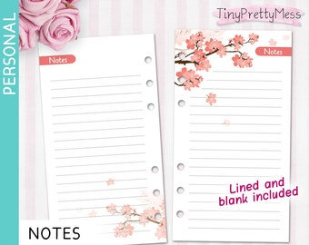 Printable Personal NOTES Inserts for planner Filofax Personal, Kikki K Medium - PDF lined and blank - Cherry Blossom Design