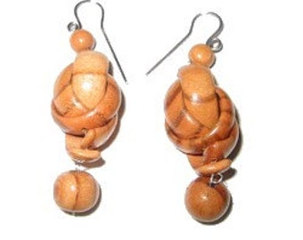 Wooden Earring, elegant and sophisticated, made out of wood, dangle earrings, 2in