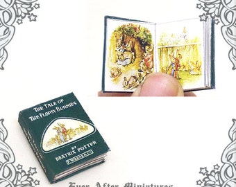 The Tale of the Flopsy Bunnies Dollhouse Miniature Book – 12th Scale Openable BEATRIX POTTER Rabbit Miniature Book - Printable DOWNLOAD