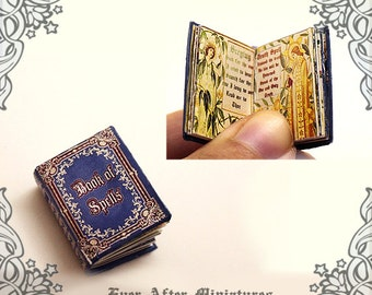 Book of Spells Dollhouse Miniature Book – 12th Scale OPENABLE Miniature Book with READABLE Magic Spells - Spell Book Printable DOWNLOAD