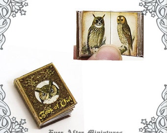 Book of Owls Dollhouse Miniature Book – 12th Scale OPENABLE Owl Antique Dollhouse Miniature Book - Bird Dollhouse Book Printable DOWNLOAD