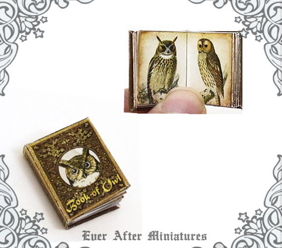 Book Of Owls Dollhouse Miniature Book 12th Scale OPENABLE