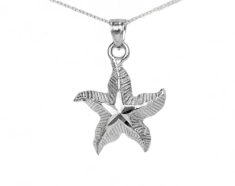 14k White Gold Starfish Necklace