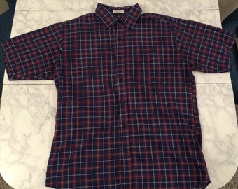 Large Short-Sleeve Button Down: Blue, Red, and White Plaid Shirt