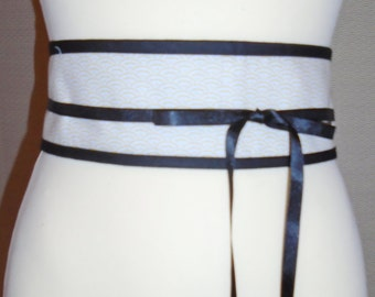 Belt reversible Obi Japanese cotton white/Bordeaux