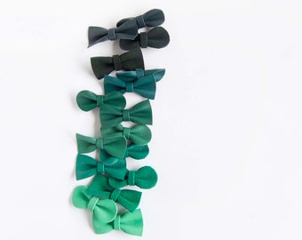 Mini Leather Hair Girls Bow Crocodile Clip or Nylon Headband Kelly, Jade, Mint, Forest Green Ombré, Baby/Adult Bow, Neutral Hair Accessories